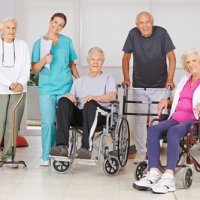 Group of seniors in nursing facility